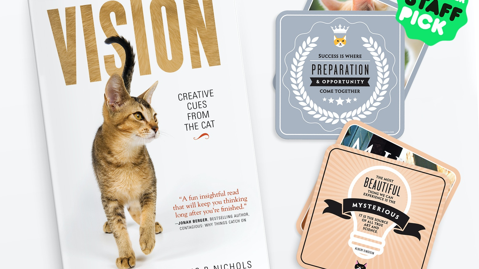 VISION is an artfully designed book featuring 15 feline traits that teach us how to be creative people of vision. Note: The title of VISION was changed to Creative Cues From the Cat: The Visionary Virtues of our Feline Friends.