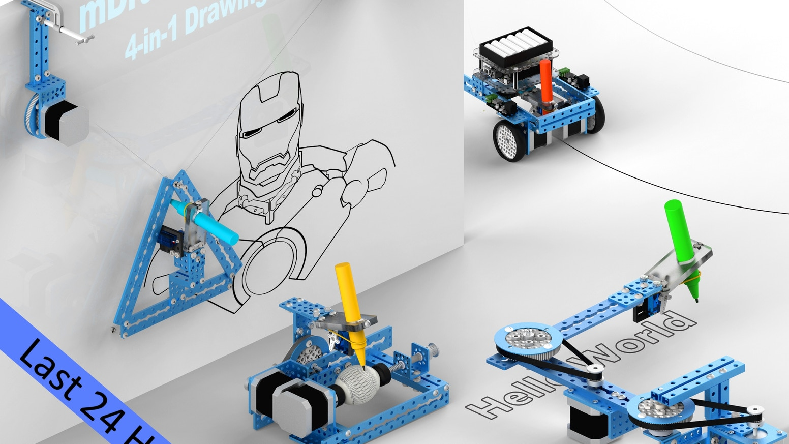 mDrawBot is a 4-in-1 drawing robot kit, it can be assembled into 4 different drawing robots: mScara, mCar, mSpider and mEggBot.