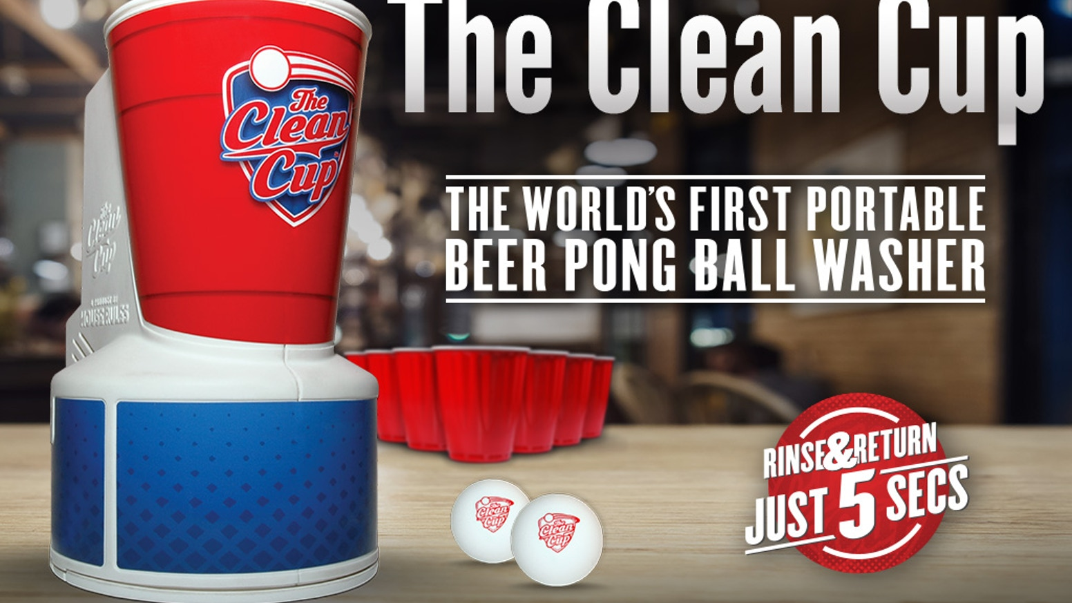 With a quick rinse and return, The Clean Cup™ leaves your beer pong balls free of hairs and dirt. Rinsed and ready for your next turn.