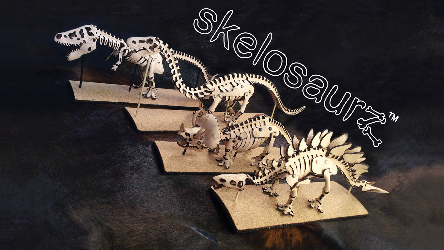 Reconstruct the past in real leather with Skelosaurz! The dinosaur skeleton kits brought back to life with primal skills & water!