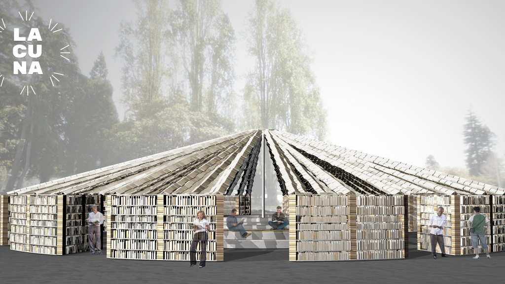 Lacuna: library + public art space built with 50,000 books project video thumbnail