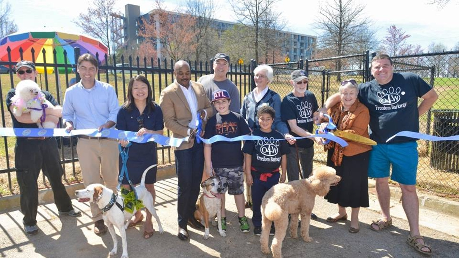 Ribbon Cutting Ceremony at Grand Opening of Freedom Barkway on Saturday, March 21st.