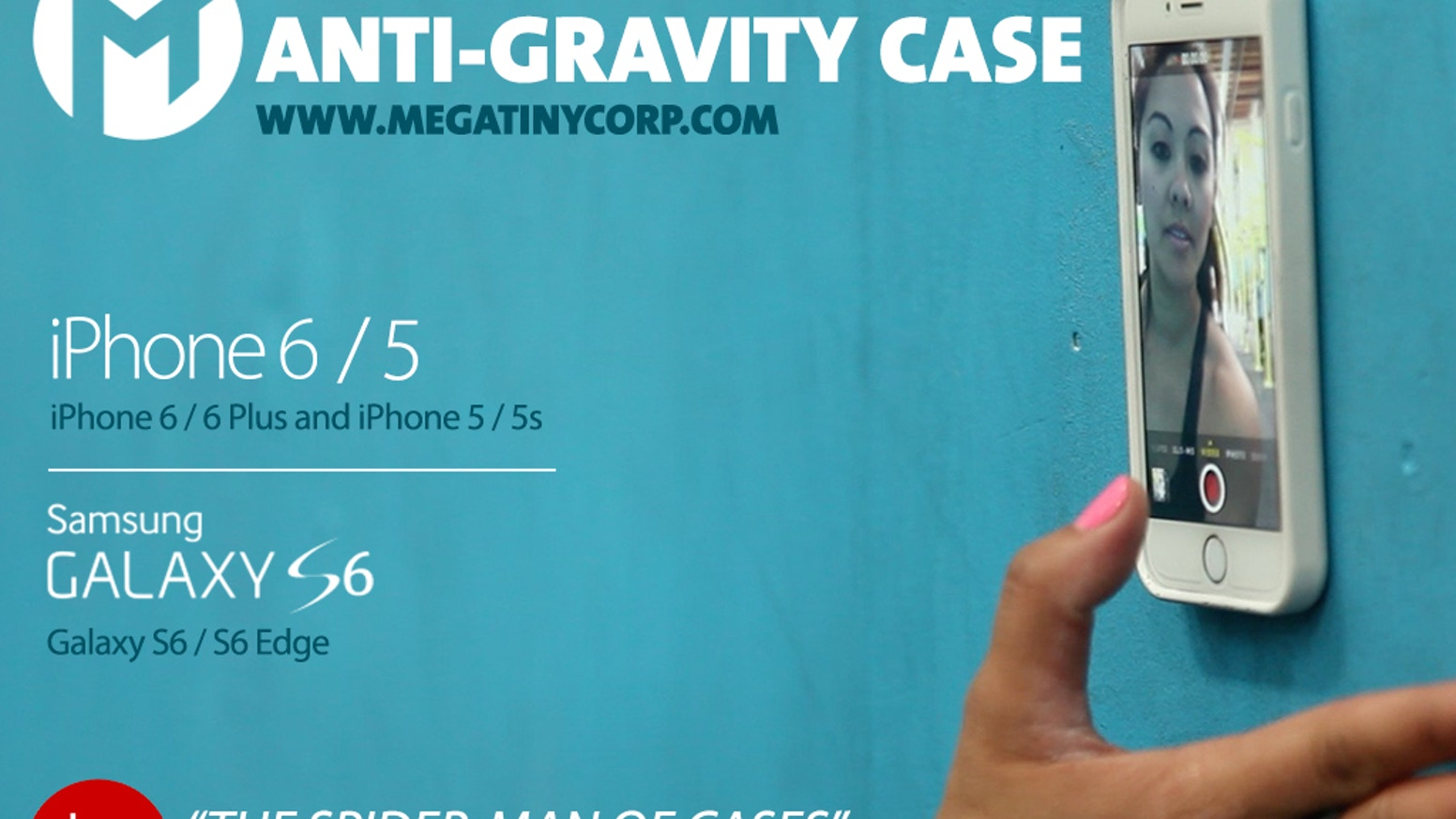 A unique case that allows you to stick your phone to most smooth, flat surfaces without being sticky!