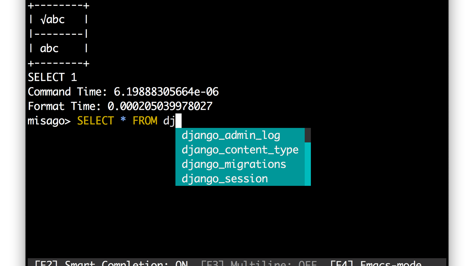 Client for MySQL/MariaDB with Auto-Completion and Syntax Highlighting.  (Not affiliated with Oracle).