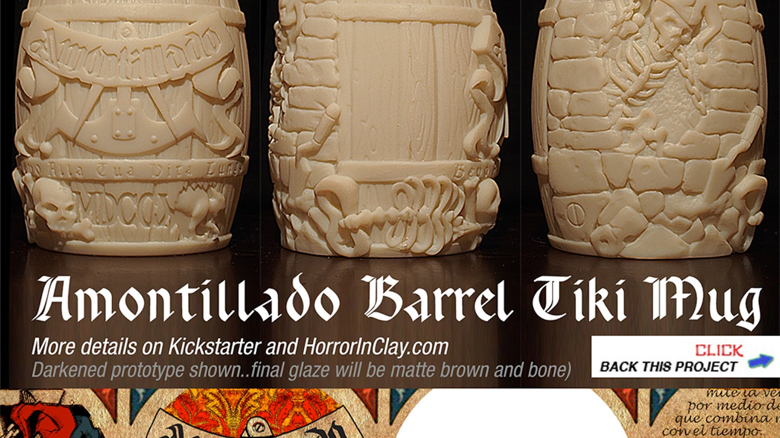 Help us produce this Amontillado Barrel Tiki Mug! For people who are into Poe, horror, vengeance, and skeletons. Oh, and cryptography.