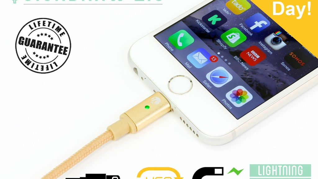Quickdraw 2.0 Cable: LED Light Reversible USB iPhone Android project video thumbnail