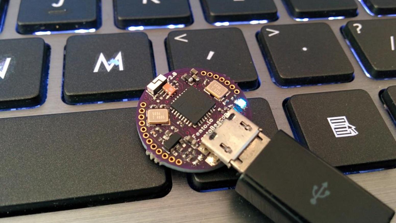 The world's smallest wireless IMU - ARM Cortex M0+ 256KB, up to 48MHz. Wireless mesh, Zigbee, 9-DoF IMU, temperature, altimeter.