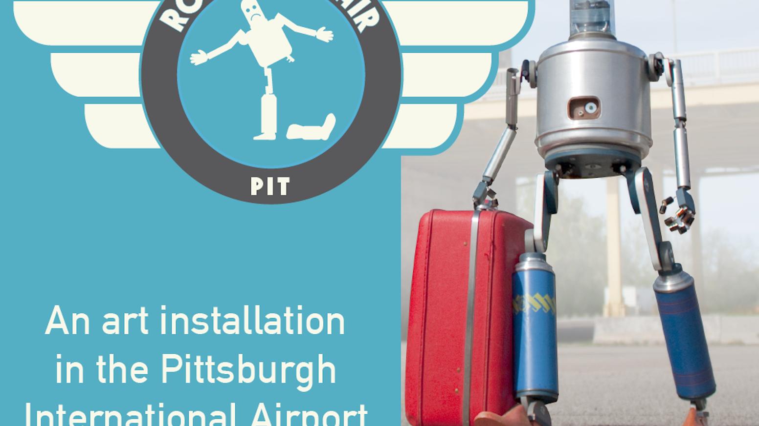 Reimagining and rebuilding the public art installation, Fraley's Robot Repair, in the Pittsburgh International Airport. #PITRobotRepair