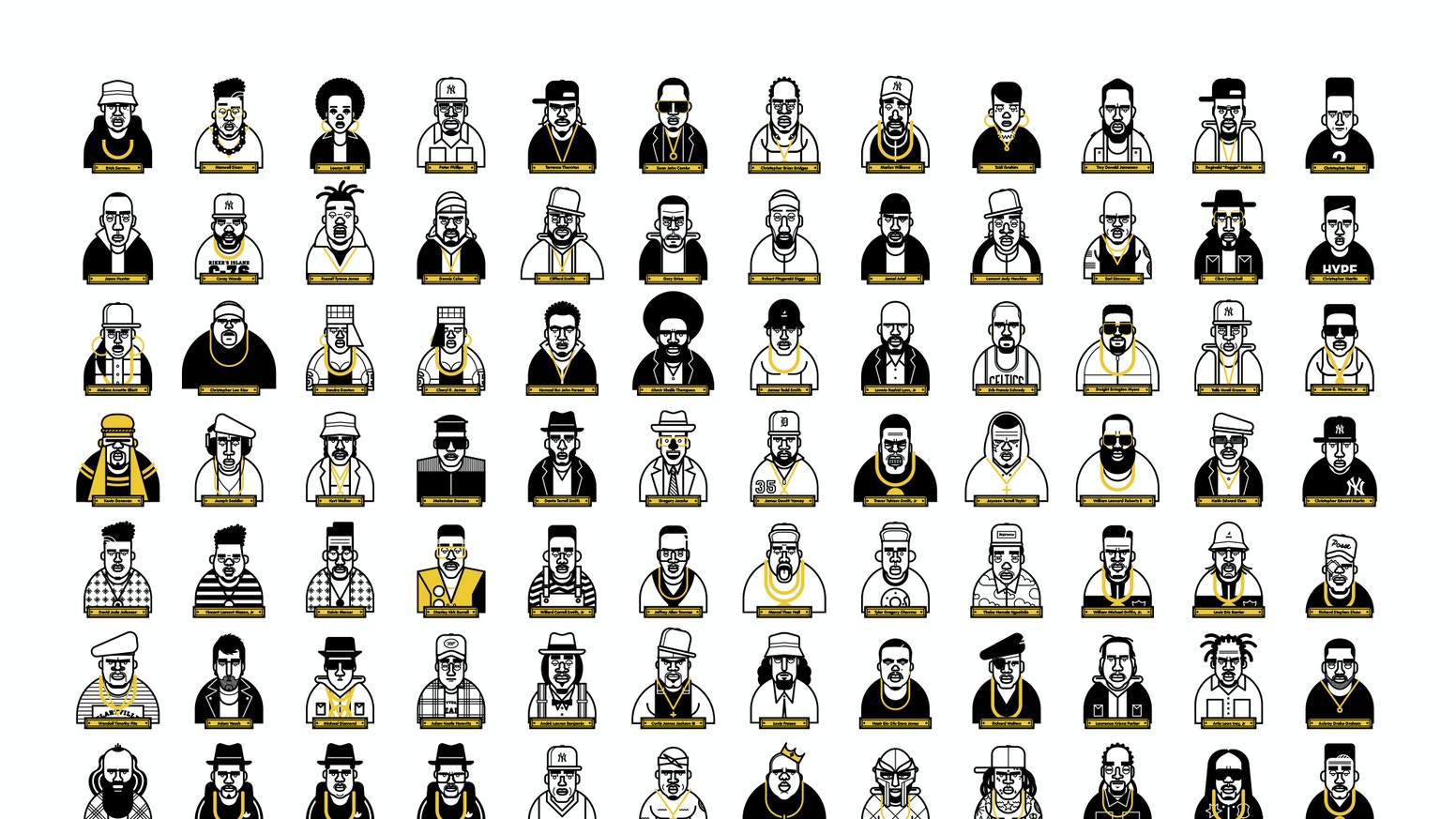 A limited edition print collection of hip hop's finest as they momz originally intended. By artist Martin Donnelly 'Known As Unknown'
