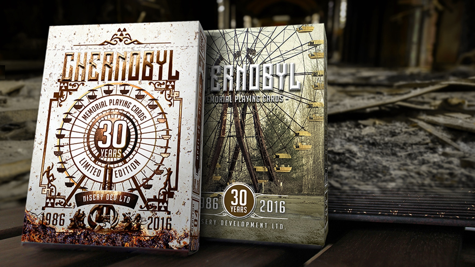 Quality poker playing cards w. unique features, commemorating the population affected by the Chernobyl accident in 1986 - 30 years ago.