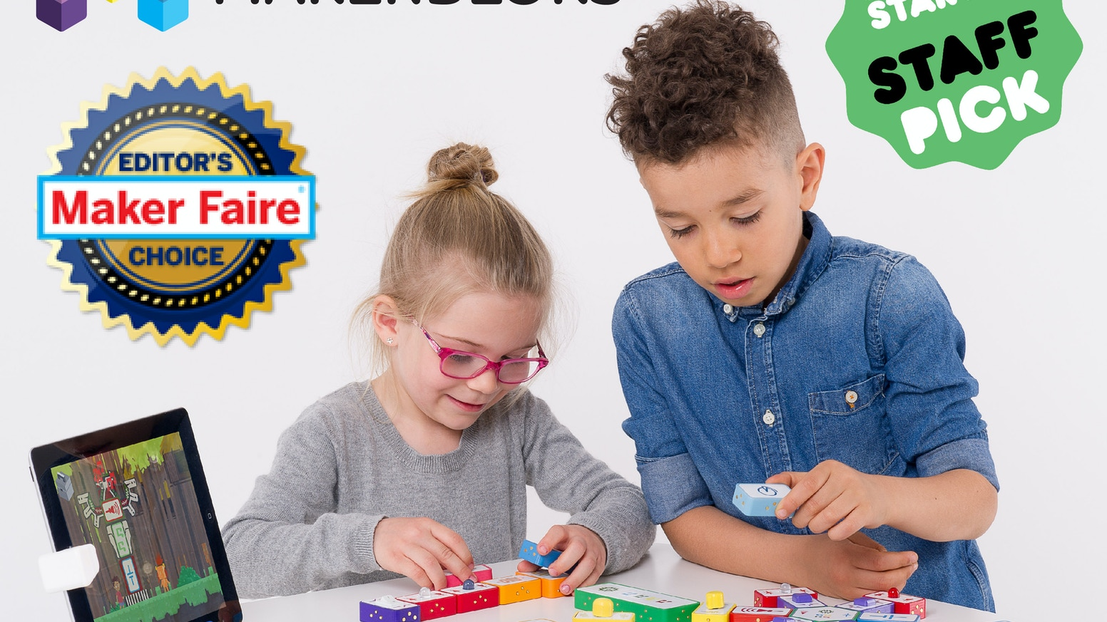 MakerBloks are reactive building blocks complimented by a tablet game that introduce children to the world of electronics.