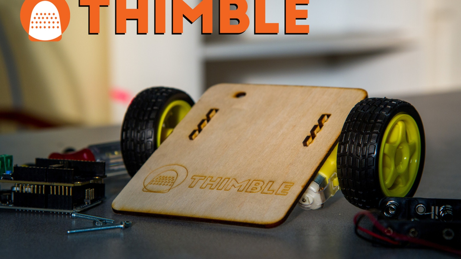 Create fun, electronic devices each month with guided tutorials and helpful community; first kit includes parts to build a wifi robot. (Thimble.io not affiliated with Thimble by Mozilla.)