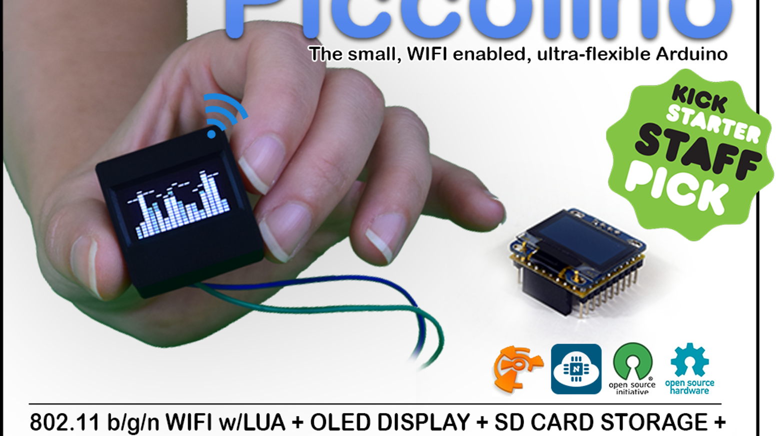World's first compact Arduino with integrated OLED+WIFI+SD CARD+32K SRAM for your 21st century projects! Play, create, embed, invent.