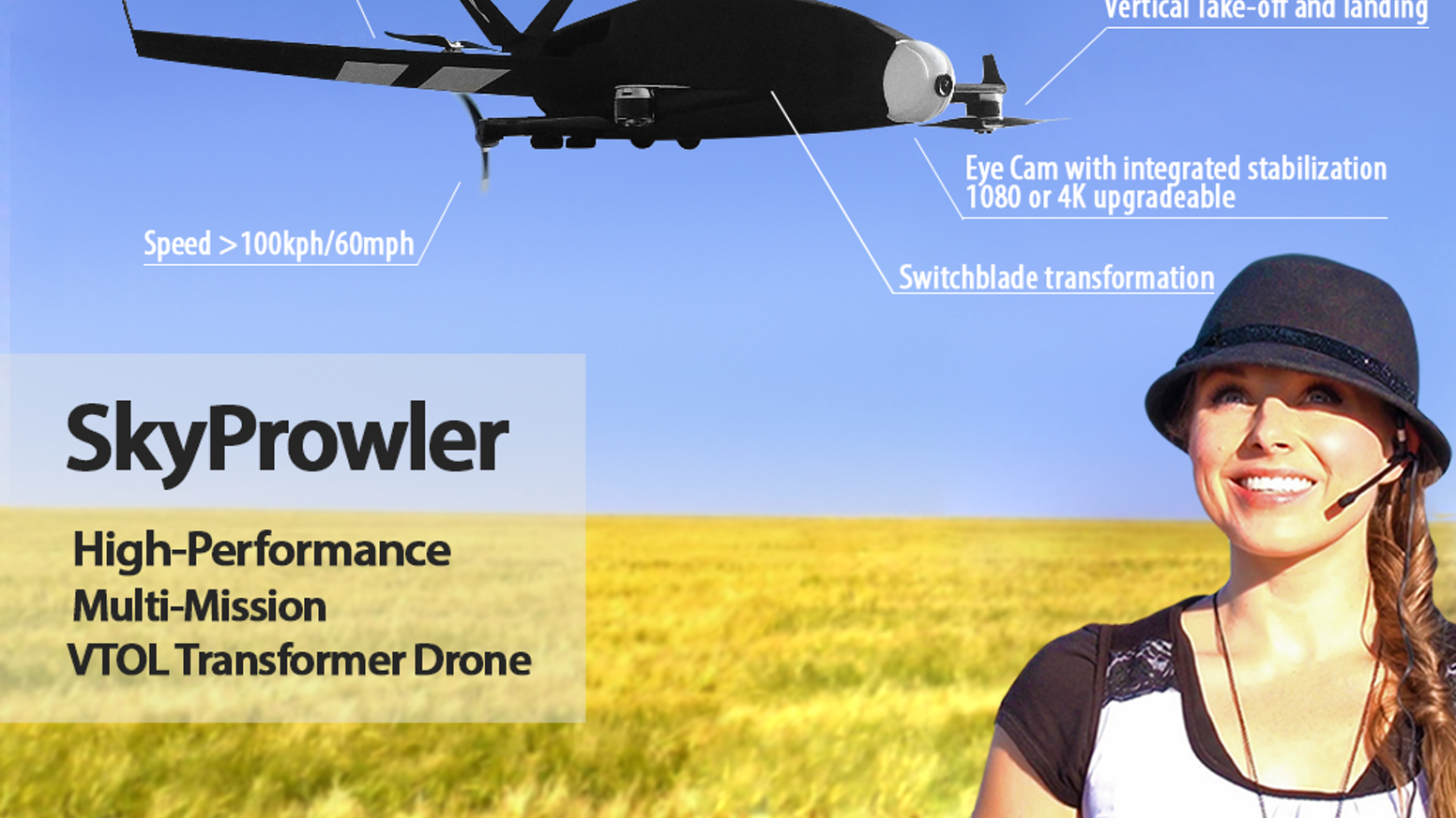 Pro-grade transformer UAV for fast and efficient fixed wing cruise and vertical take-off and landing. Cargo delivery and drop. 4K Cam.