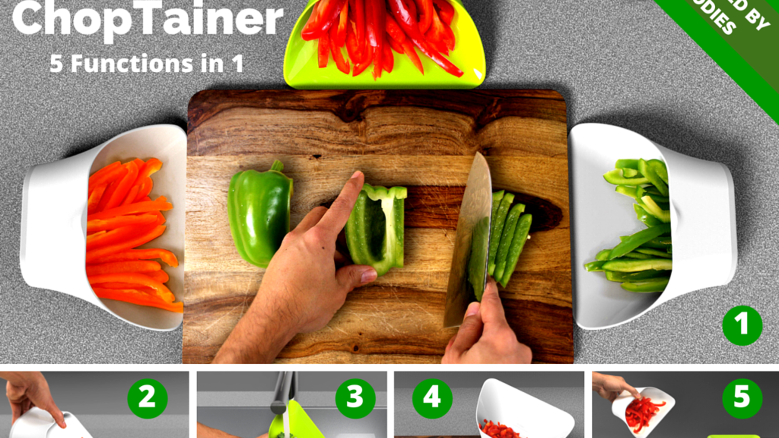 This contemporary all-in-one container can be used to collect, rinse, measure and pour ingredients being chopped on a cutting board.
