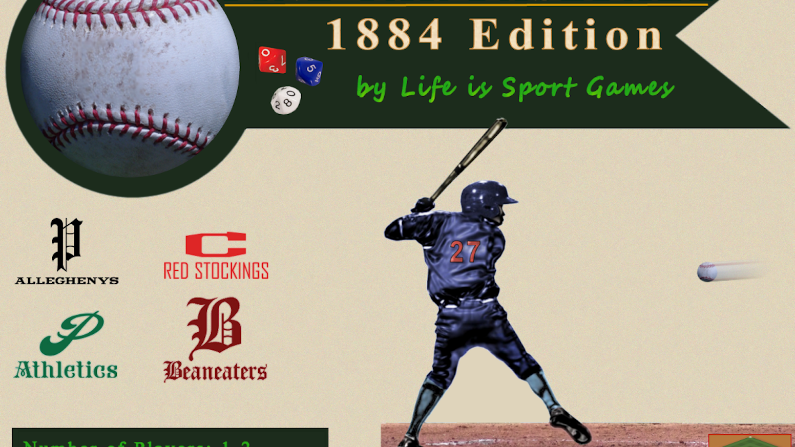 Pine Tar Baseball 1884, is a fun and fast paced dice and card game that brings the 1884 baseball season to life.