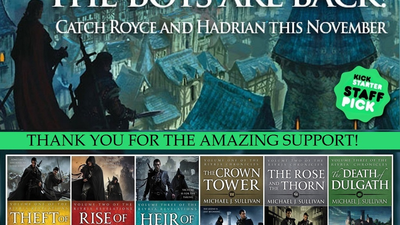 Michael J. Sullivan's unlikely heroes, Royce and Hadrian, return in a classic fantasy for both Riyria veterans and first-time readers.