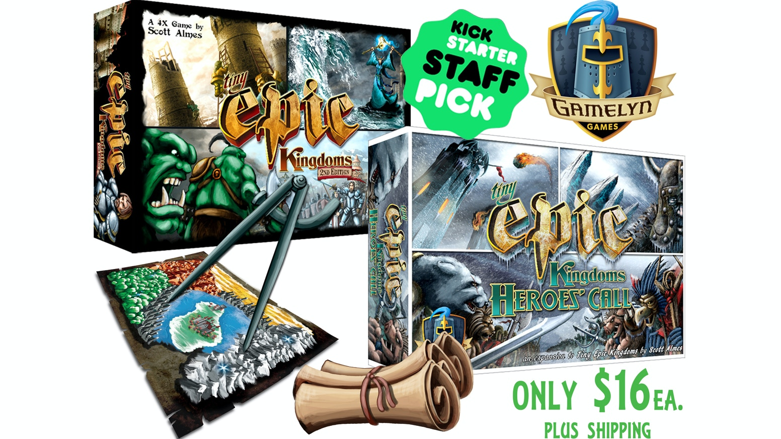 Tiny Epic Kingdoms Heroes' Call & TEK 2nd Edition by Gamelyn