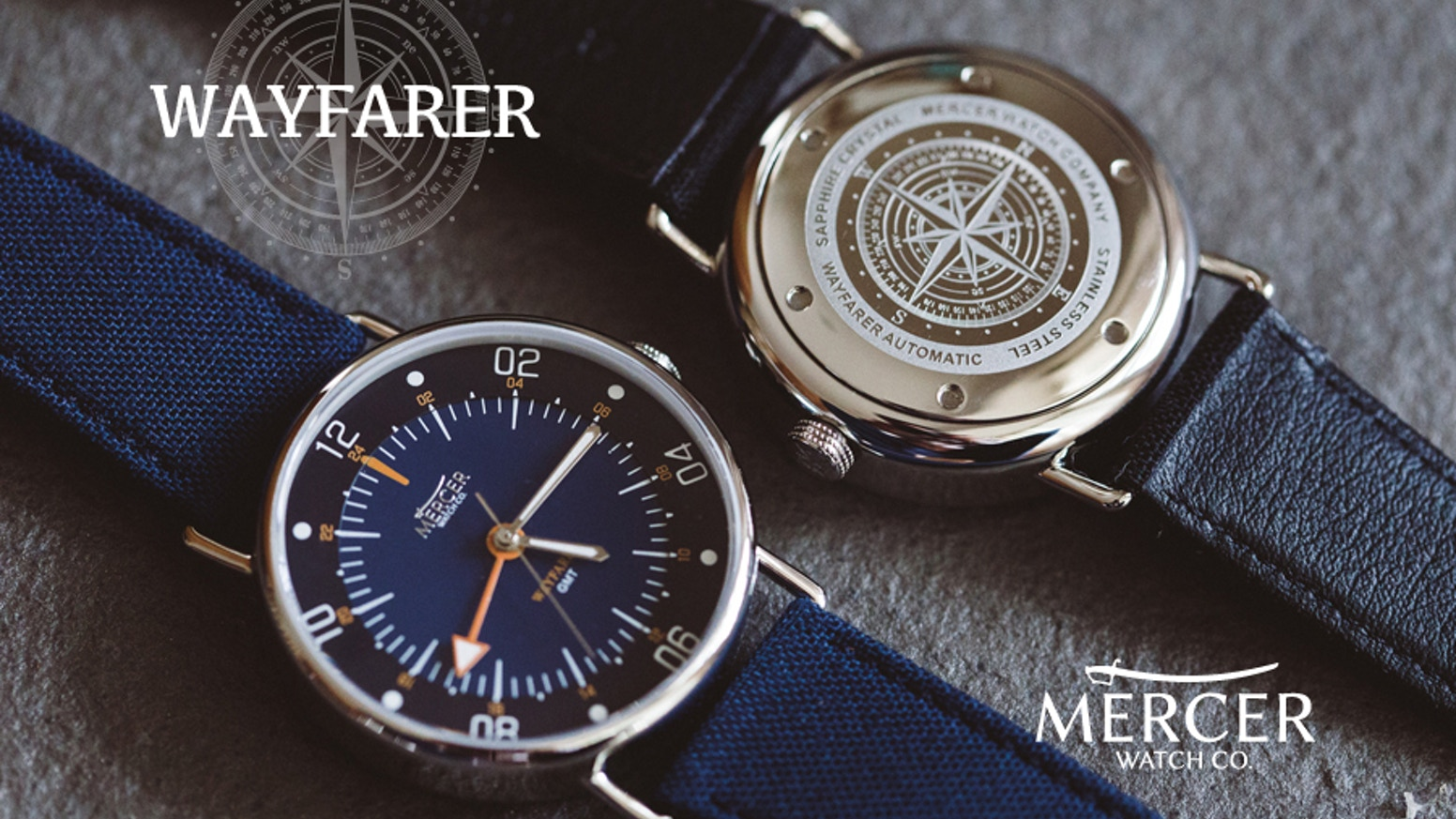 The Wayfarer is an automatic watch powered by your movement that keeps time in two time zones simultaneously.