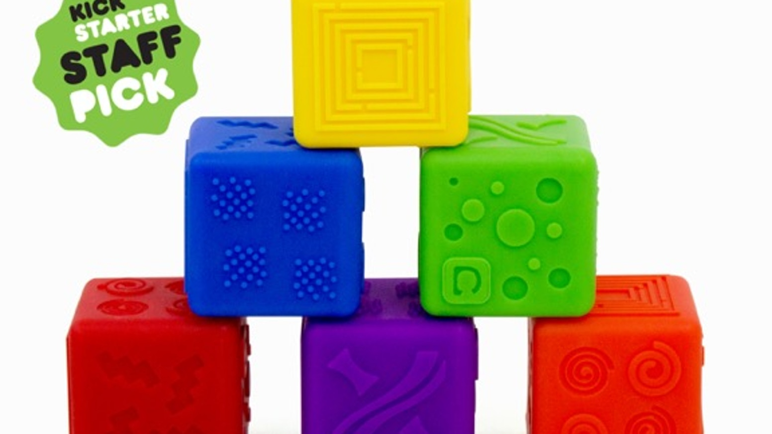 Stackable blocks that are soft, chewy, bouncy, textured, non-toxic, waterproof, and safe. They're easy-to-clean, and they float too!