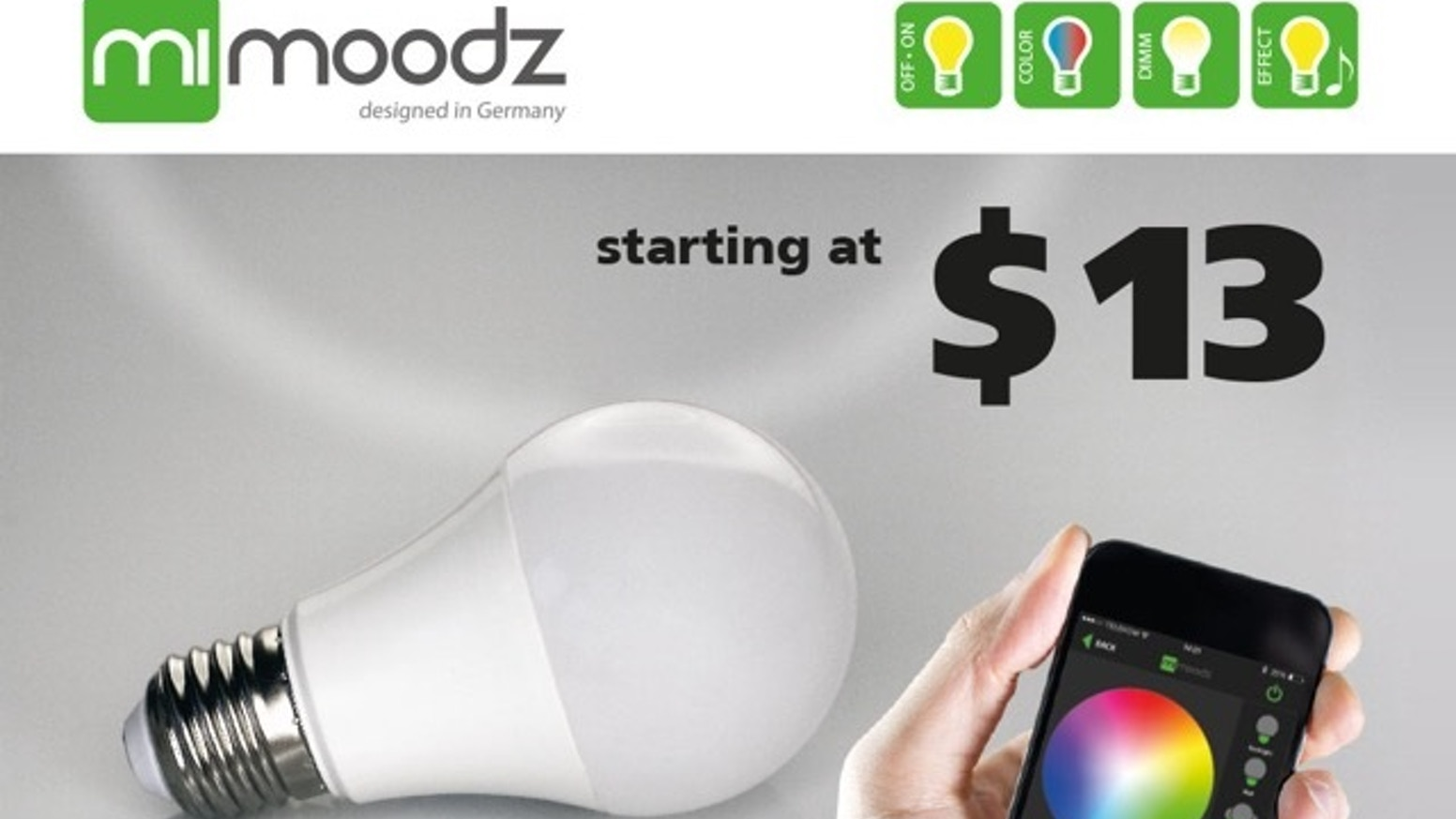 mimoodz is a smart, multi-color LED bulb that you can control with your smartphone.