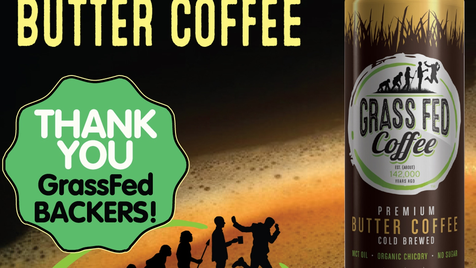 Grass Fed Coffee is smooth, creamy, delicious Butter Coffee combining cold brew coffee, grass fed butter, MCT oil, and organic chicory