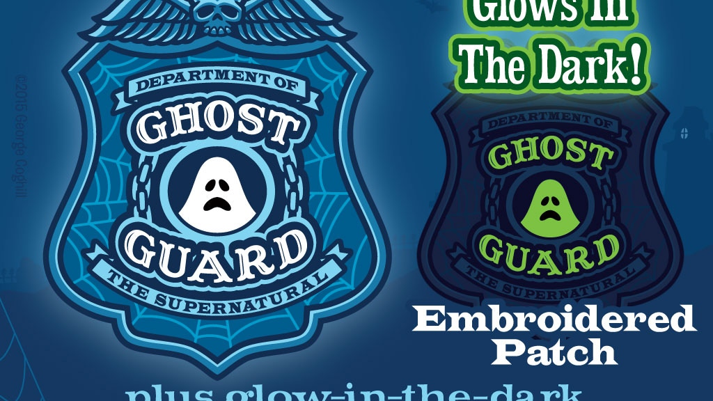 """""""Ghost Guard"""" — embroidered patches that glow-in-the-dark! Paranormal & supernatural fun. Lapel pin, t-shirt, card & original art."""