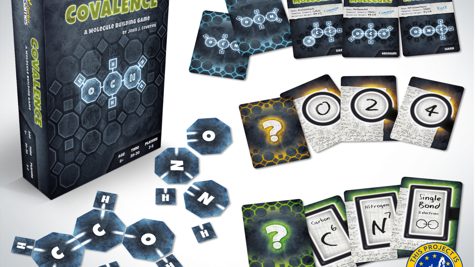 A Puzzle-Style, Cooperative, Chemistry Game for 2-4+ Players, where you must deduce the structure of secret molecules from clues given!