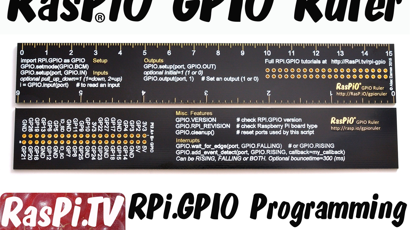 """RPi.GPIO Quick reference for GPIO programming on Raspberry Pi. Python code & port ID labels in a convenient 6"""" PCB ruler"""