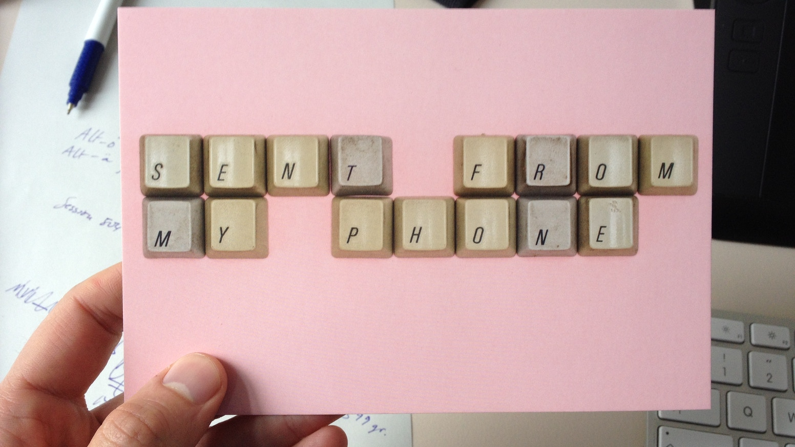 This project is about creating a set of typographic postcards made with used keyboard keys.