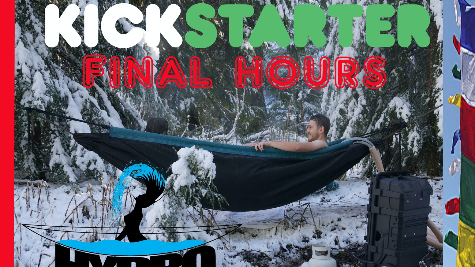 Hot Tub Hammock, yes a revolution. Suspended it, lay in the snow or