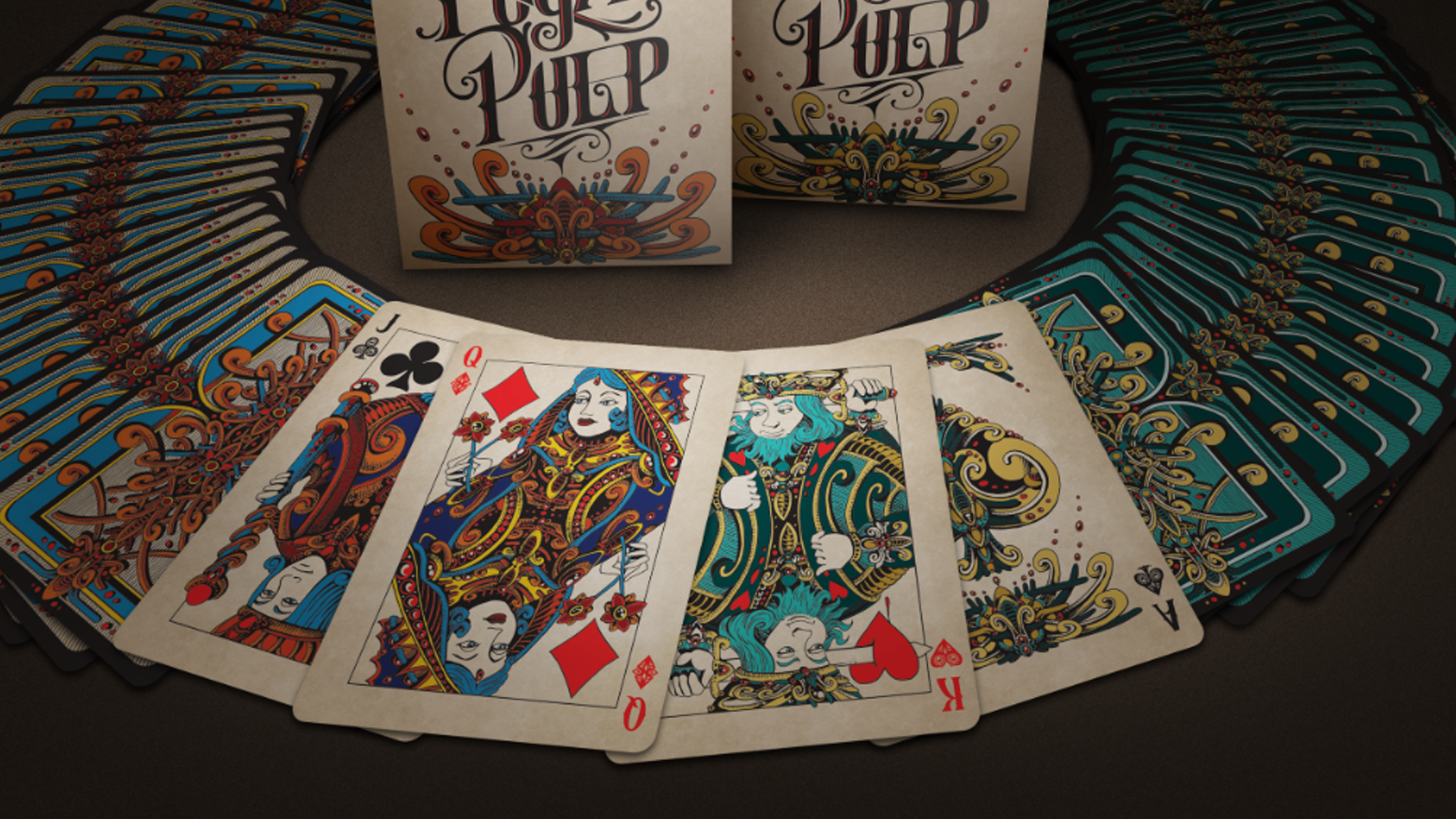 Two beautifully crafted custom playing cards decks. Featuring brightly colored illustrations & gorgeous typography.
