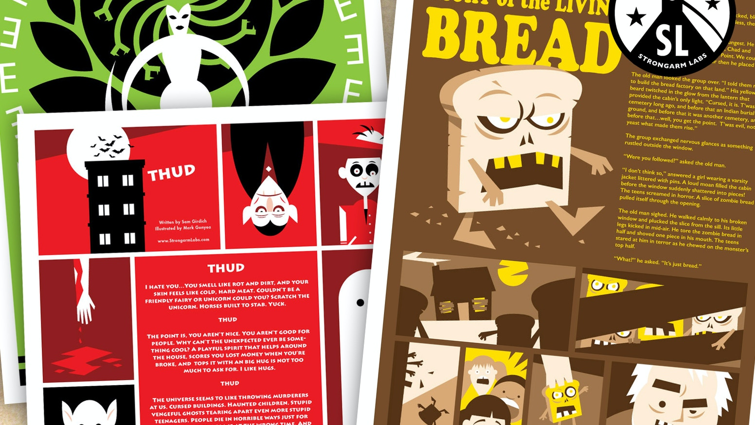 Posters melding the written word, sequential art, and graphic design.