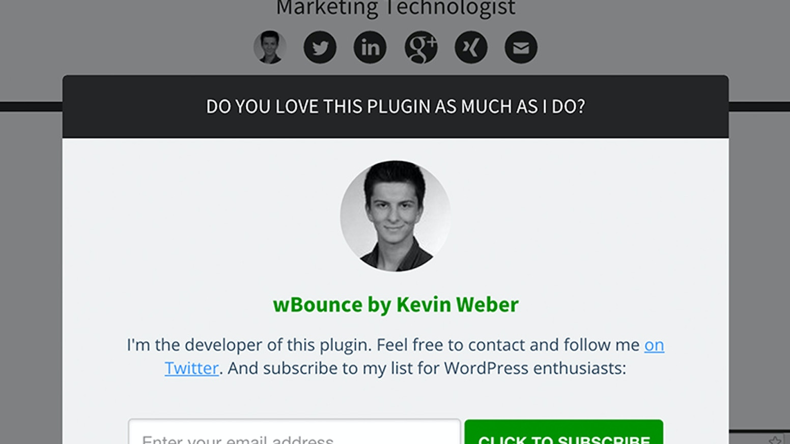 Override the default popup per page! This feature enhances the free exit popup plugin wBounce from WordPress.org