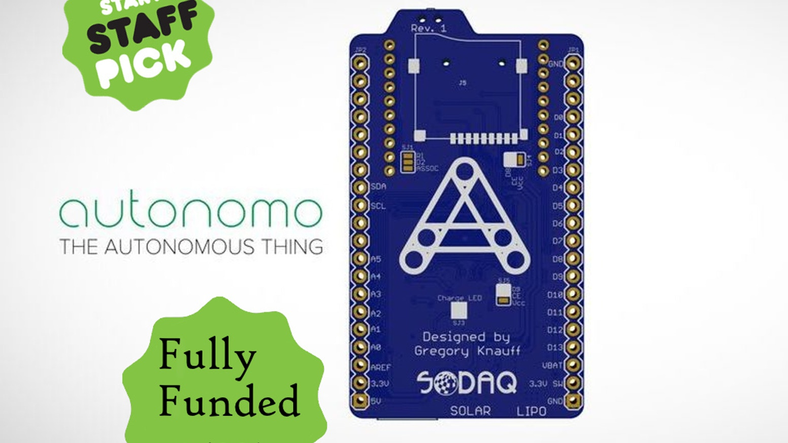 The Autonomo is a matchbox sized, Arduino-compatible, microcontroller board powered by a small solar panel.
