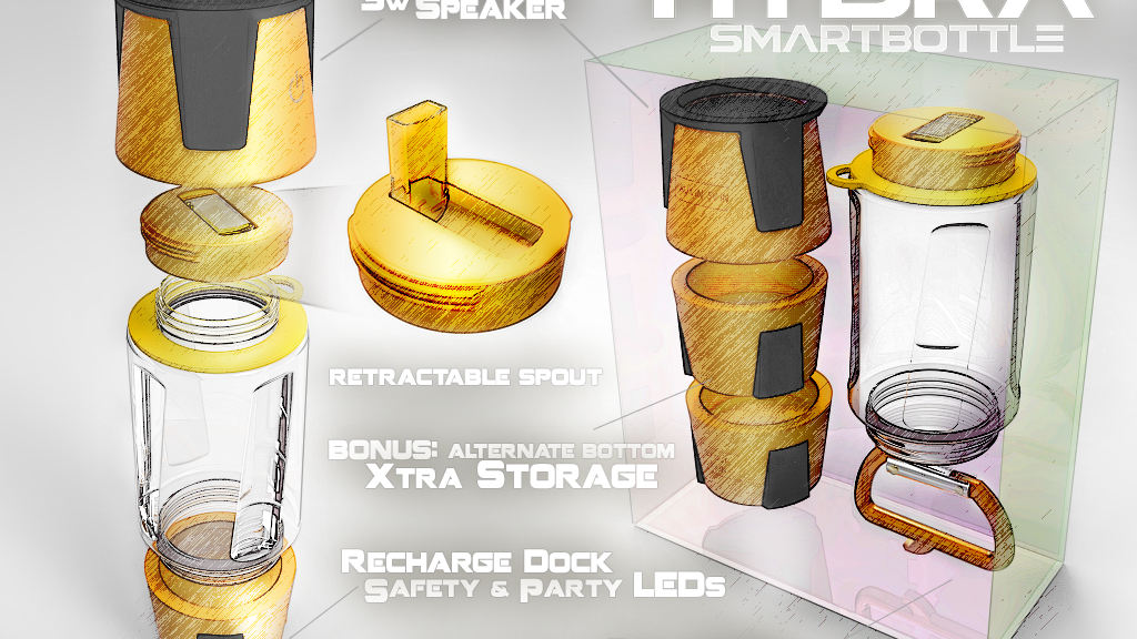 Hydrate with HYDRA SmartBottle - Charger & Bluetooth Speaker project video thumbnail