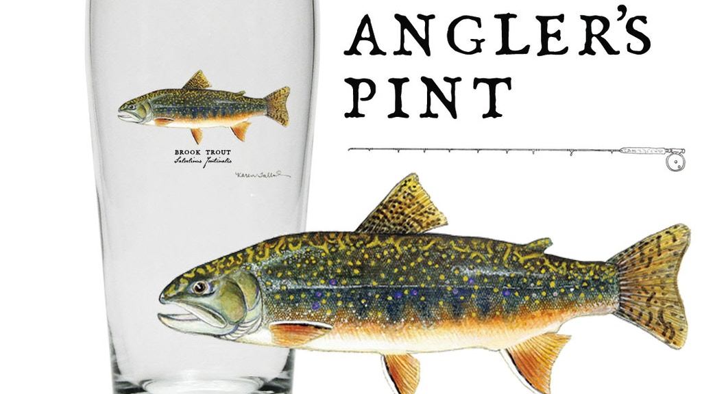 Brook Trout Angler's Pint Glass by Karen Talbot Art project video thumbnail