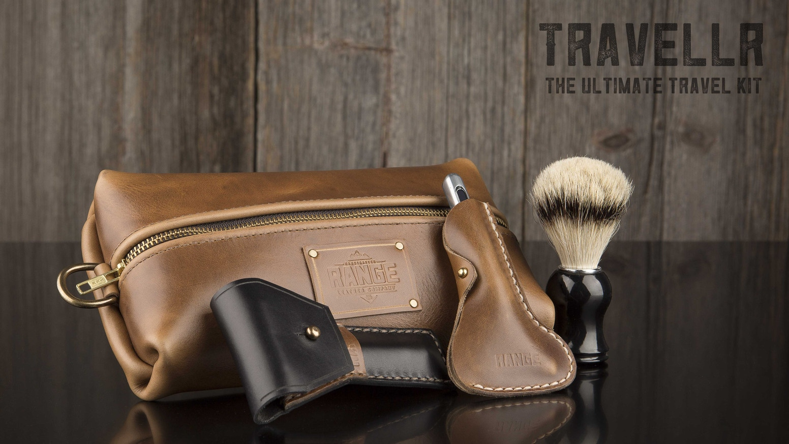 Premium travel bag & razor case handcrafted from premium Horween leather that can serve as a dopp kit, toiletry bag, or makeup case.