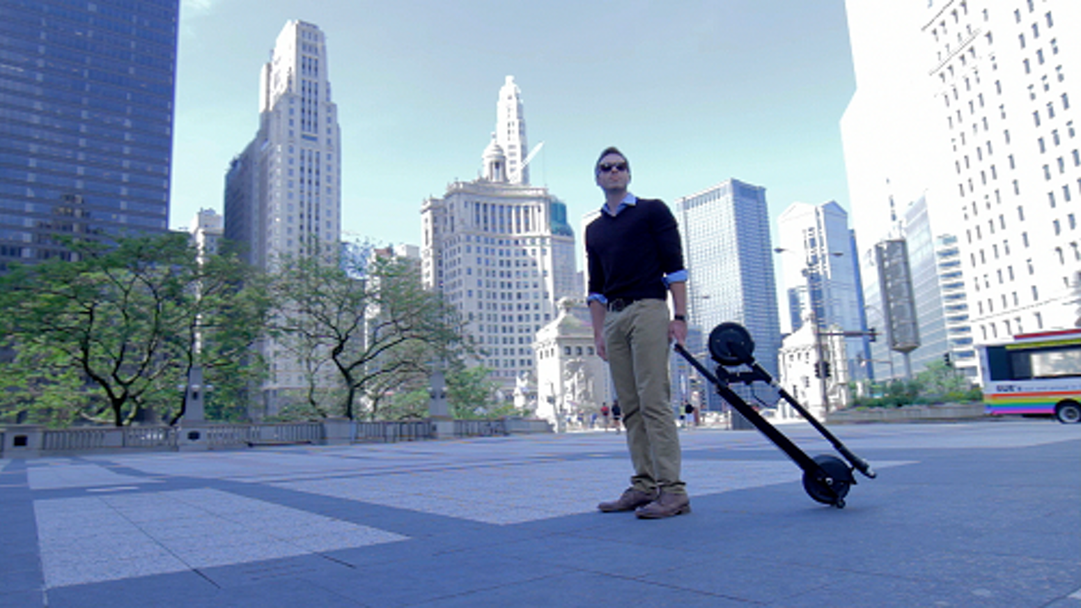 World's first self-standing dolly style e-scooter – by far the best combination of portability and motorized personal transportation.
