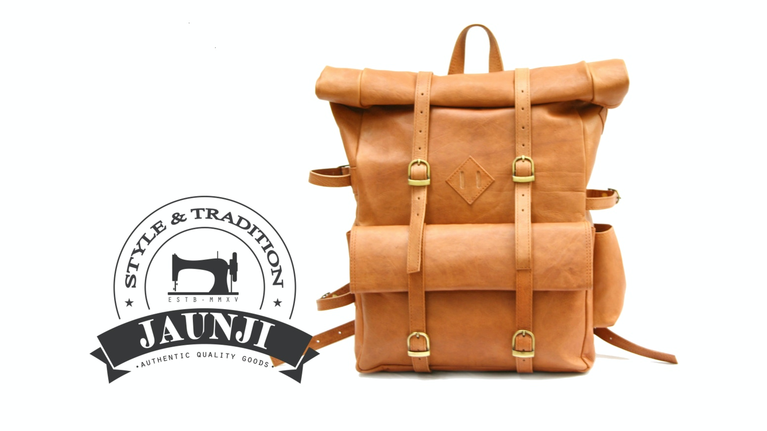 Natural Veg tanned leather, hand cut & sewn to create an authentic quality roll top backpack - Timeless design and honest construction