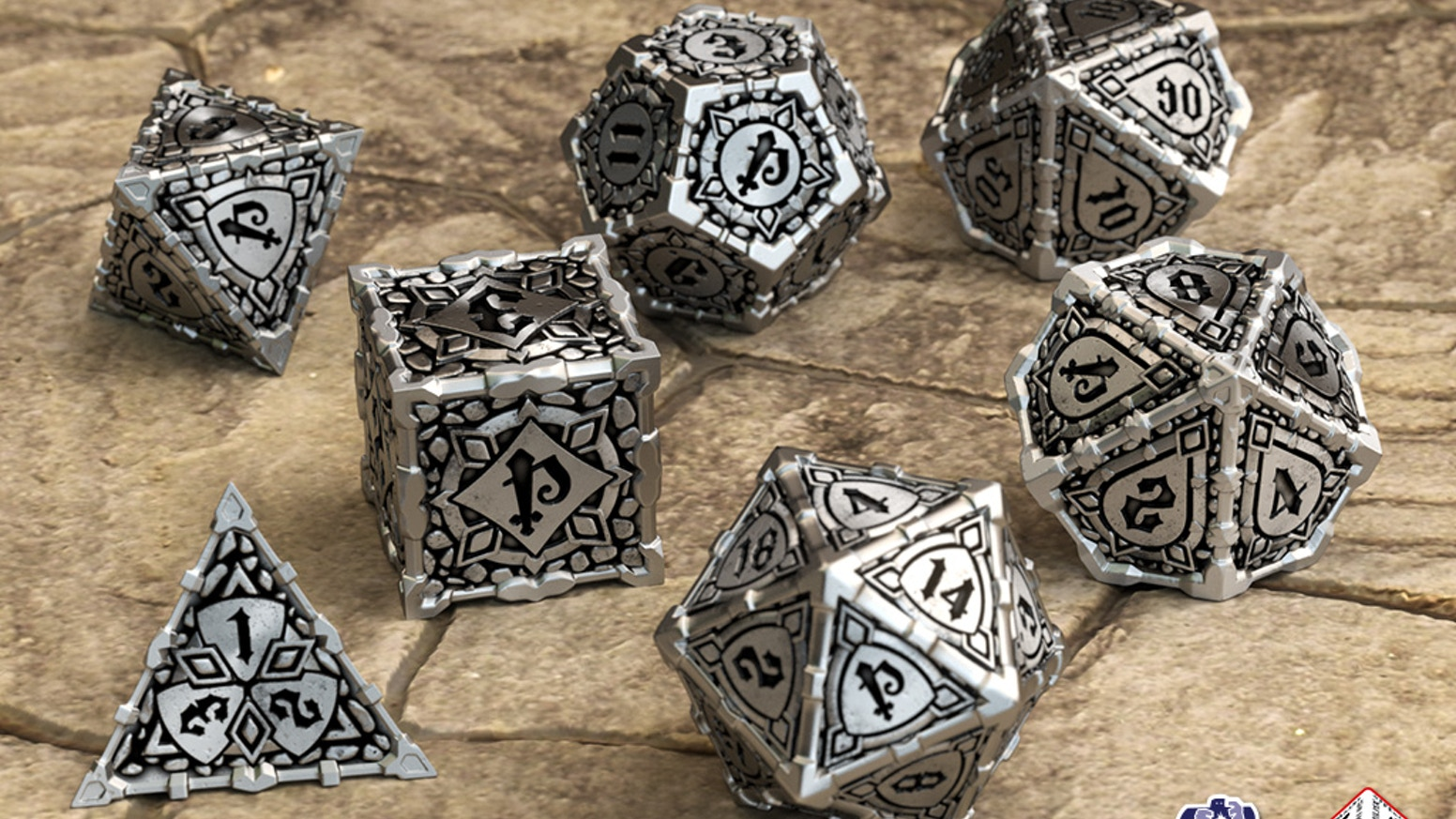 Q-workshop presents the most unique metal dice set on Earth— an all new and very special accessory for your Pathfinder game sessions!