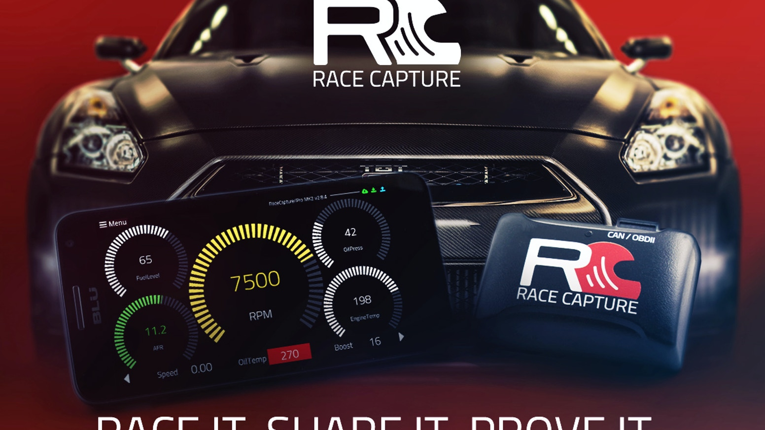 RaceCapture brings motorsports to the connected car: Share track days, autocross, drift and drag racing with your friends in real time!