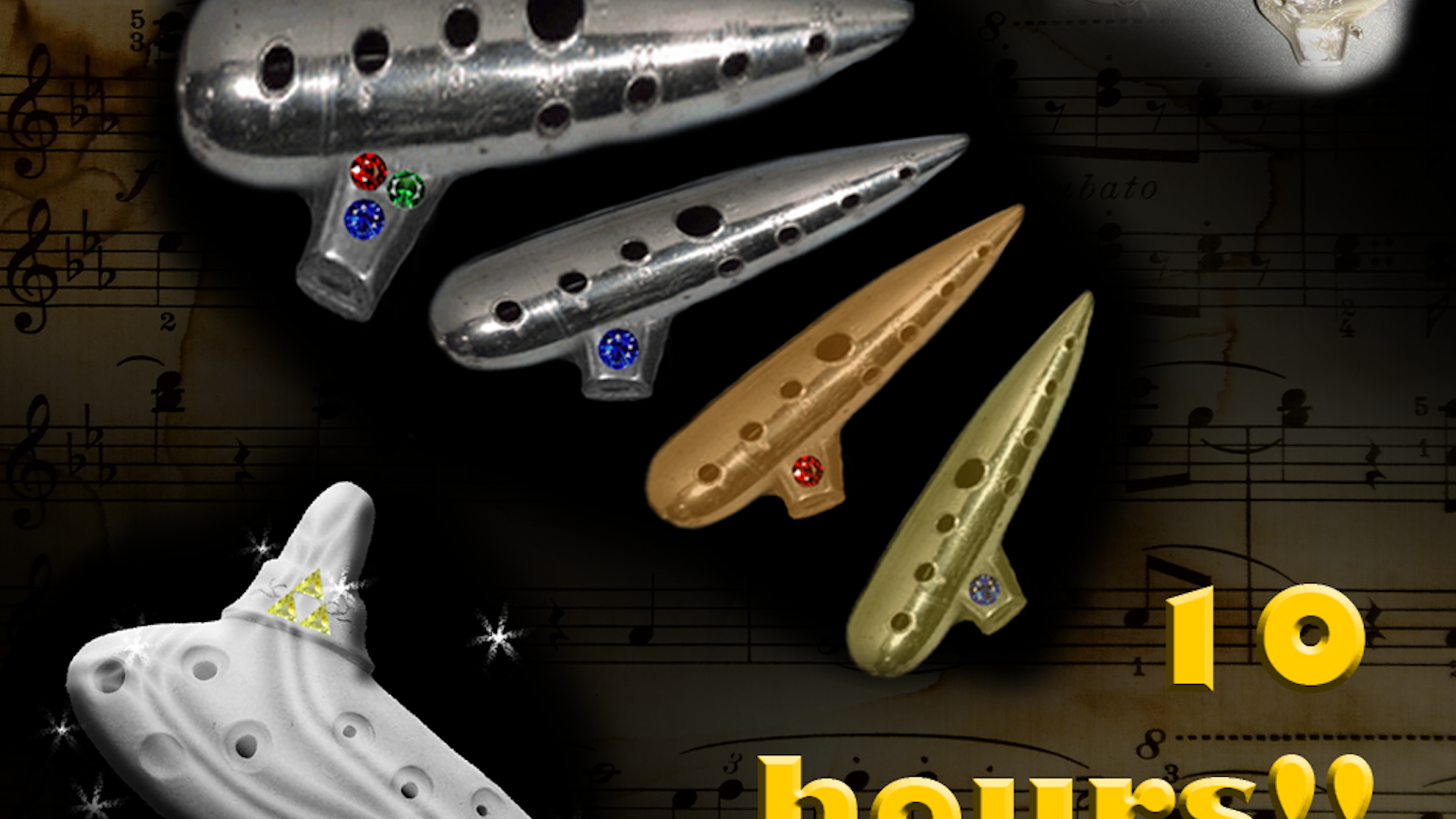 Playable metal ocarina flutes inspired by Zelda : Ocarina of Time (copper, bronze, silver) and gems!