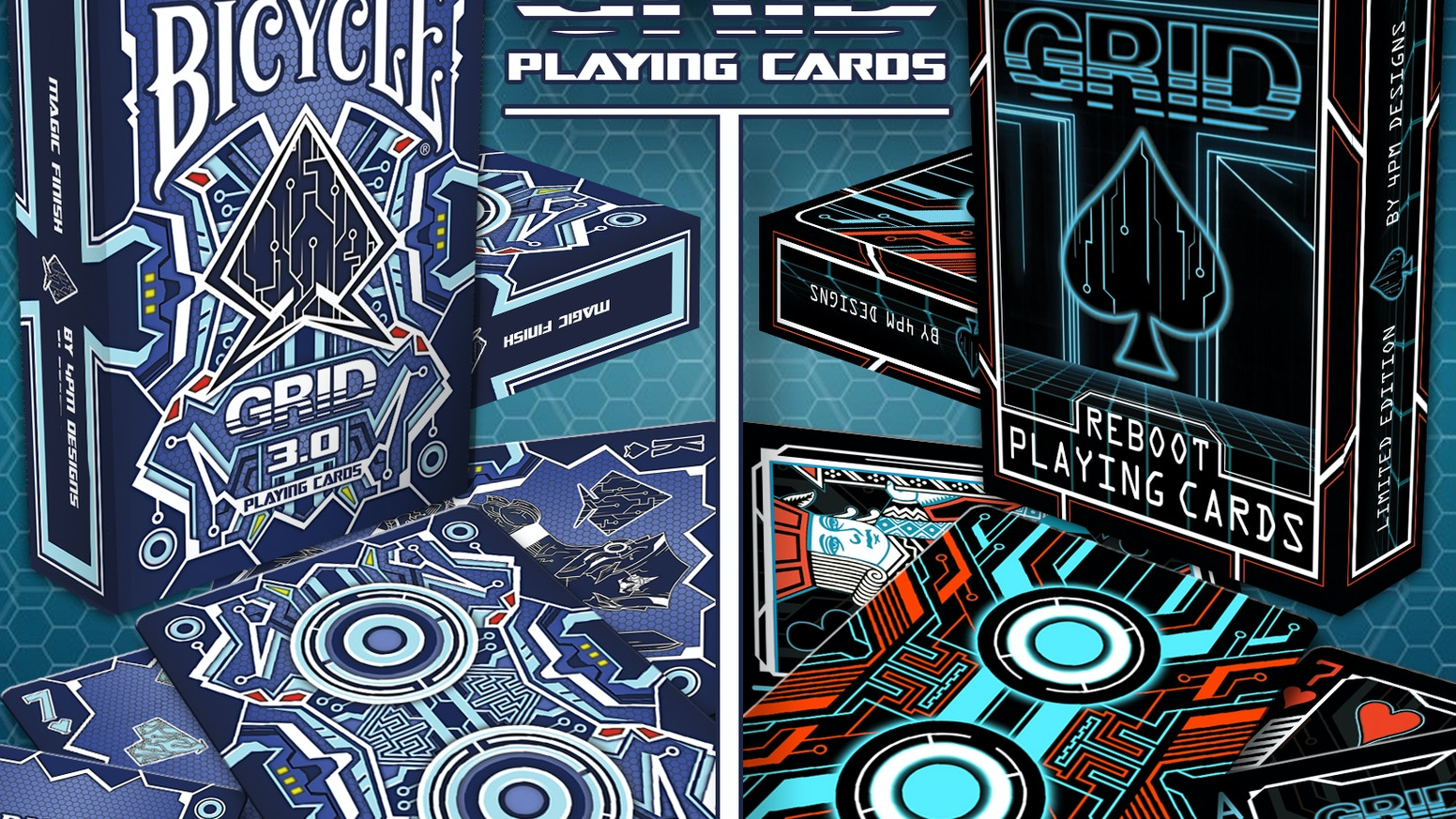 Continue THE GRID saga by 4PM DESIGNS with GRID 3.0. 56 fully custom cards. Now including GRID: REBOOT as an ADD ON ONLY EXCLUSIVE
