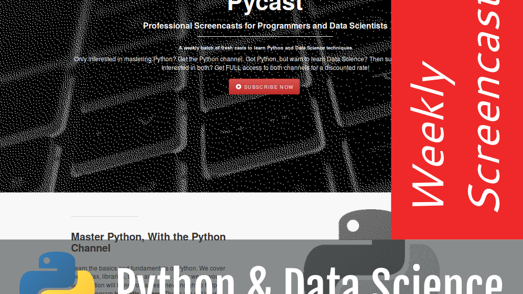 Pycast: Python & Data Science Screencasts project video thumbnail