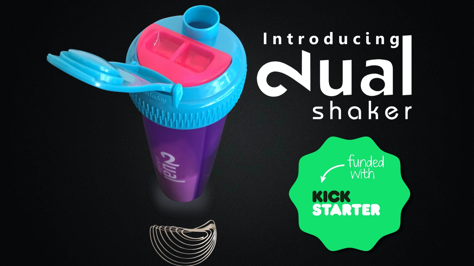 The Dual Shaker is a two-chamber bottle that helps you make fresh drinks anytime, anywhere.  Just twist, shake, and you're done!