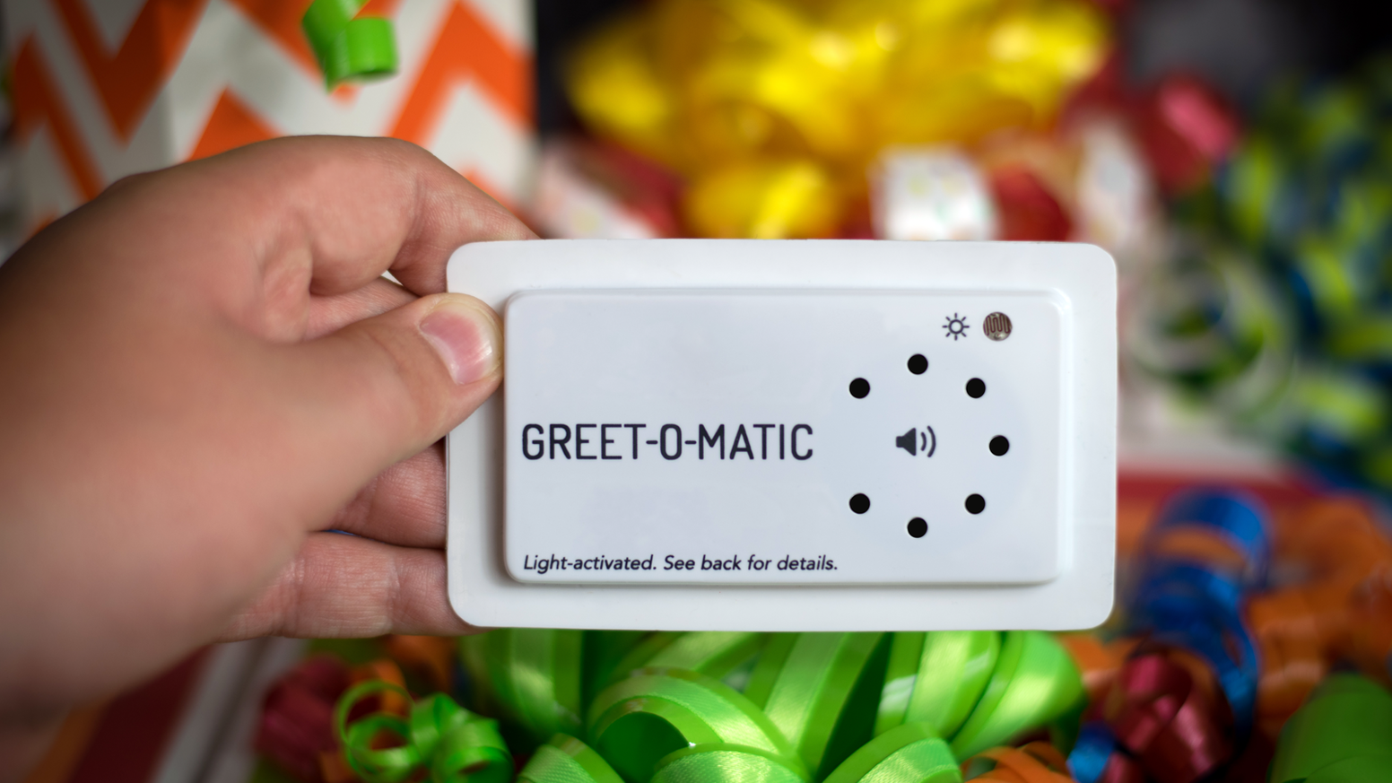 Greet o matic by 10 year old inventor brilliant by christian record a custom message that plays automatically when exposed to light a digital greeting card with tons of other uses reusable kristyandbryce Image collections