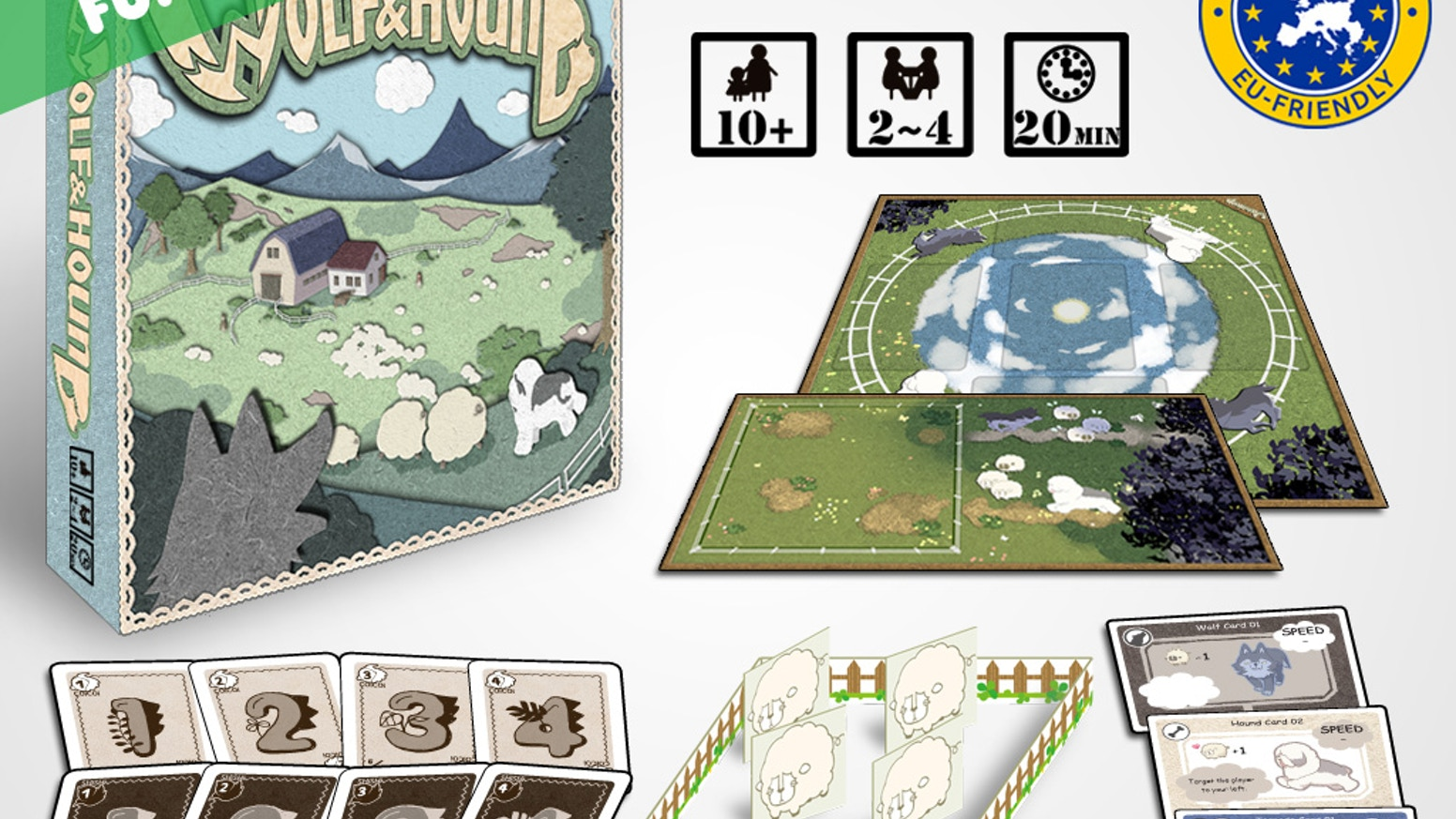 A partnership board game for 2-4. Save your sheep from being chased away by hungry wolves! Use your hound to bring the sheep back!