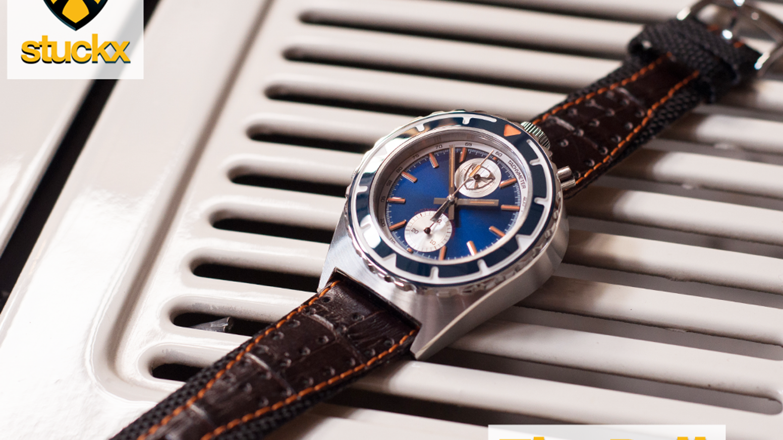 """A high quality watch in typical 70's """"bullhead"""" design. Powered by a mechanical automatic- or mecha-quartz chronograph movement."""