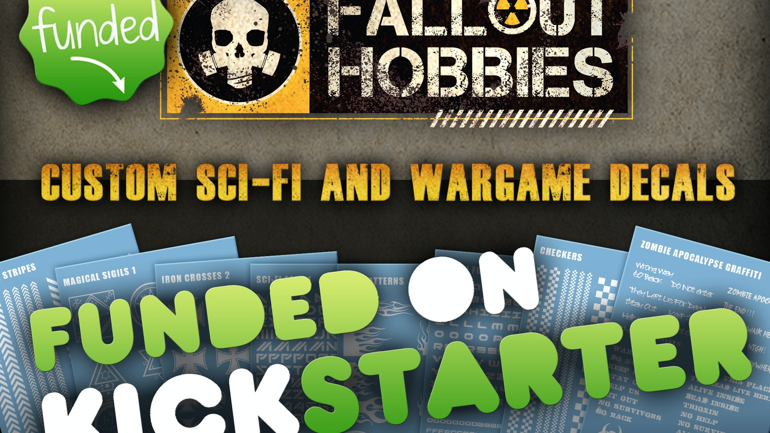 Fallout hobbies makes custom waterslide decals easy to order for Sci-Fi and Tabletop Wargame model enthusiasts.